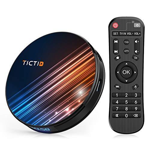 Android TV Box 9.0 TICTID R8 Pro 4GB DDR3 + 64GB EMCC, RK3318 Quad-Core 64-Bit, Dual WiFi 2.4G   5GHz, 100M LAN, USB 3.0,BT 4.0, 4K Android TV