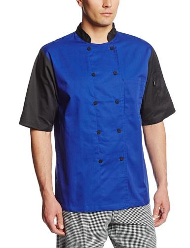 Dickies Men's Big and Tall Color Block Cool Breeze Chef Coat, Royal/Black, 4X-Large