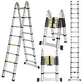 Meditool 5M Escalera Plegable Aluminio,2,5M+2,5M Escalera Telescópica, Escalera Plegable...
