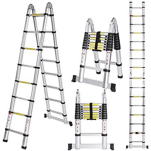Meditool 5M Escalera Plegable Aluminio,2,5M+2,5M Escalera Telescópica, Escalera Plegable Portátil,16 Escalones Antideslizantes,Soporta Hasta 150 kg