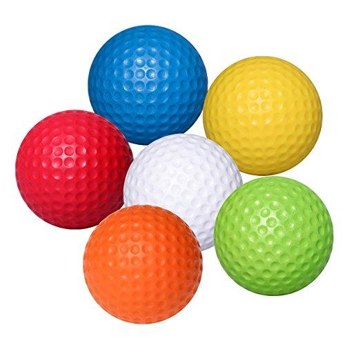 WINOMO 6pcs weiche Flexible üben Golfbälle PU Golfballs im Freien im Freientrainings-Golfball (Weiß + Gelb + Blau + Rot + Orange + Grün)