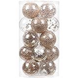 Sea Team 80mm/3.15' Adornos Variados Transparentes Bolas de Navidad,Decoraciones Ornamentales Resistente.para Colgar en el árbol de Navidad,Paquete de Regalar Portátil Set de Navidad(20pcs)