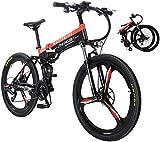 26'Mountain bike elettrica Pieghevole freno a doppio disco adulto e sospensione completa Mountain Bike Bicicletta sedile regolabile Telaio in lega di alluminio Smart LCD Meter 27 Velocità 48V10Ah400W