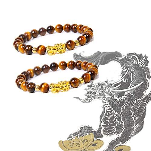 Pulsera de obsidiana Pi Xiu Pi Yao, pulseras de amuleto Feng Shui, pulsera de mantra tallada a mano negra con bestia sagrada china chapada en oro que atrae riqueza buena suerte (ojo de tigre)