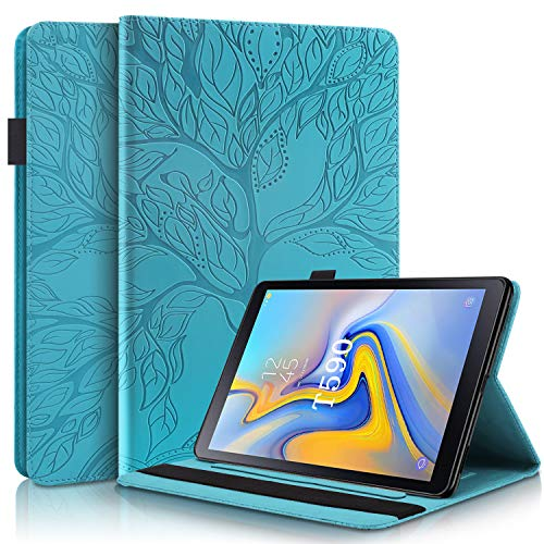 DodoBuy Case for Samsung Galaxy Tab A 10.5, Life Tree Pattern Flip Smart Cover Wallet PU Leather Bag Multi-angle Stand with Card Slots Elastic Band - Blue