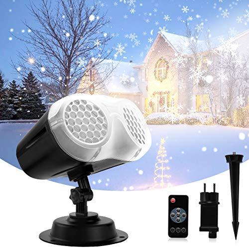 LED Projecteur de Noël, Qxmcov Lampe de projection Snowfall Extérieur et Intérieur avec Télécommande, Lampe de Projection Etanche, Projecteur de Lumière pour Noël, Fête, Mariage, Anniversaire, Jardin