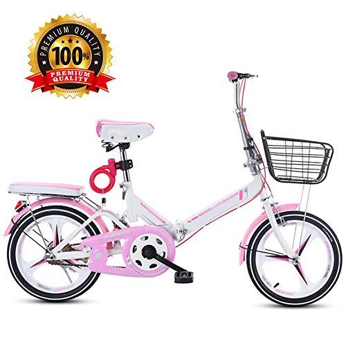 Nobuddy Kinder Mountainbike, 16-20 Zoll Faltbares Kinder Fahrrad, BMX Kinderfahrrad Bikes, Mountain Faltrad Fahrrad, Bike für Mädchen und Jungen/Pink / 20''