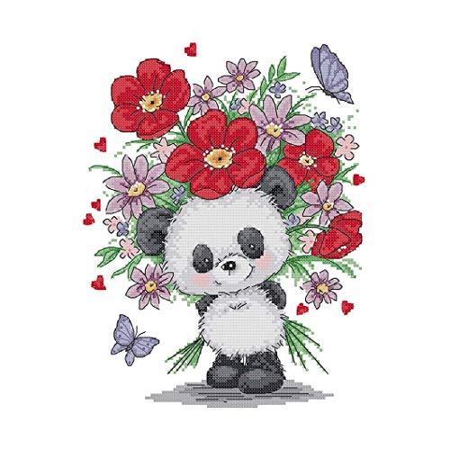 Nirmon Kits de Inicio de Bordado Kits de Punto de Cruz Estampados para Principiantes Kit de Bordado de 11 CT Panda Dando Flores 13 X15,7 (Pulgadas)