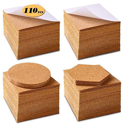 Self-Adhesive Cork Squares 110 PCS Cork Adhesive Sheets 4 x 4 Inch for Coasters and DIY Crafts, Cork Board Squares Cork Backing Sheets Mini Wall Cork Tiles Mat with Strong Adhesive