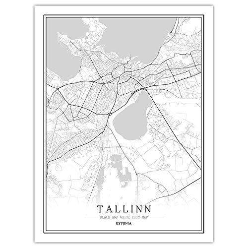 peng Prints Canvas, Estonia Tallinn City Map Black White Simple Minimalist Art Mural Poster Frame less Picture,Modern Vertical Painting Cafe Office Home Decor,20 * 30cm