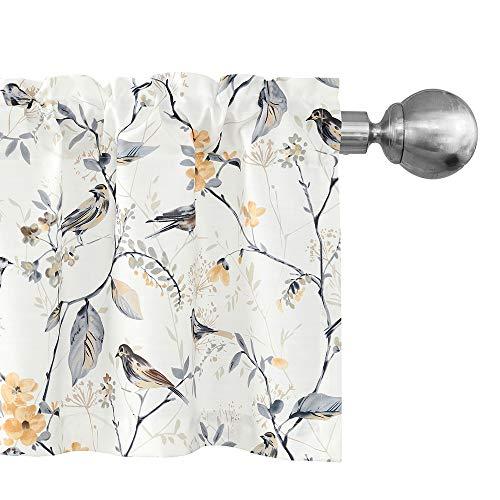 Leeva Birds Vines Cortina estampada cenefa para cocina, baño, lavandería, cenefas de bolsillo para ventana recámara sala de estar,...