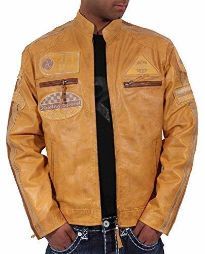 Aviatrix Hommes Garçons Jli Mode Cuir Véritable Bikers Veste Vintage Urban Look Rétro Disponible en 3 - Jaune, L