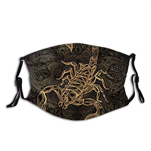 Gooeyokoi Mundschutz Gesichtsschutz Scorpion Tattoo Ornate Gold Bild auf Waschbar Atmungsaktive Staubdicht Schutz Bandana Schal mit Filter