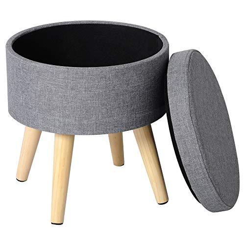 WOLTU® Sitzhocker mit Stauraum Fußhocker Aufbewahrungsbox, Deckel abnehmbar, Gepolsterte Sitzfläche aus Leinen, Massivholz, Hellgrau, SH08hgr-1