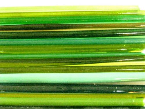 Devardi Glass Handmade COE 104 Mixed Greens 1 Lb, Lampwork, Beadmaking Glass Rods