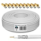 HB-DIGITAL 20m Cable Coaxial HQ-135 Cable de Antena 135dB Cable SAT 8K 4K UHD 4 Veces Apantallado Para Sistemas DVB-S / S2 DVB-C / C2 DVB-T / T2 DAB+ Radio BK +10 F-Plug GRATIS