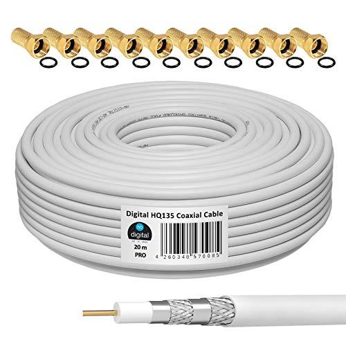 HB-DIGITAL 20m 135dB Cavo coassiale SAT HQ-135 PRO schermato 4 volte per sistemi DVB-S / S2 DVB-C e DVB-T BK + 10 set di connettori F placcati in oro Gratuito
