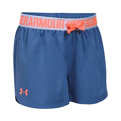 Under Armour Girls' Play Up Shorts, Deep Periwinkle /London Orange, Youth Medium