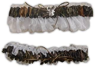 Camouflage White Sheer Bridal or Prom Garter Set with Deer Head