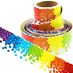"""WHAT YOU GET - Roll of confetti border in Rainbow colors. 36 ft. x 3"""". Cardstock. Shrink-wrapped. CLASSROOM SUPPLIES - Perfect for decorating bulletin board, doors, windows, chalkboard, whiteboard and more! WELCOME DESIGN - Use these borders to welco..."""