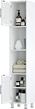 Tangkula Tall Bathroom Cabinet, Home Bedroom Living Room Wood Linen Storage Cabinet Free Standing w/Four Shelves and Two Glas