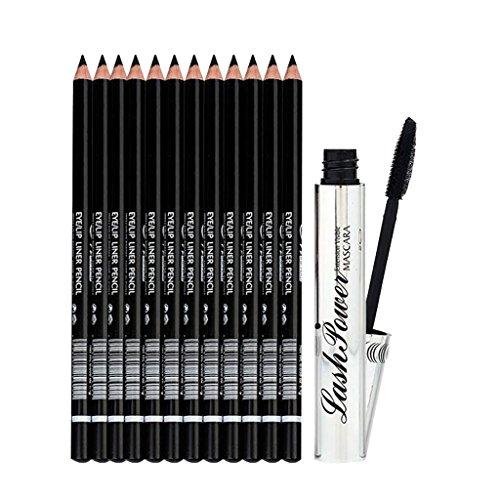 perfeclan Volume Curling Black Mascara + 12Pcs Crayon à Paupières Eyeliner Imperméable