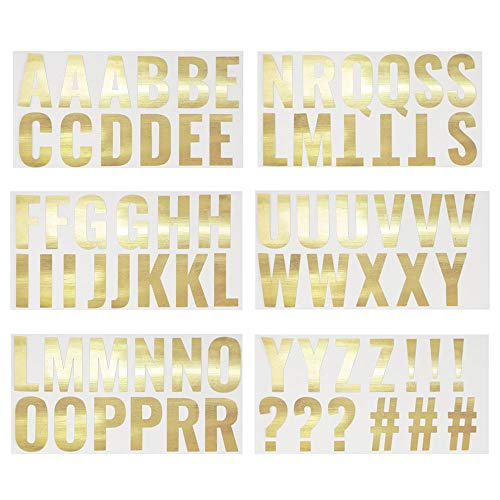 Large Gold Foil Letter Wall Stickers, Arts and Craft Supplies (2 x 2.5 in, 74 Pieces)