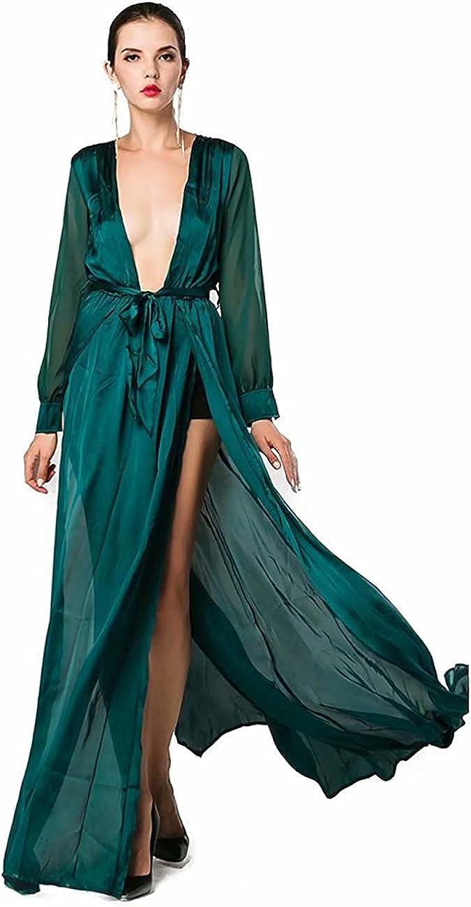 Miss Genuine Free Shipping ord Women's Sexy Deep V Long Dress High w Maxi Regular dealer Split Sleeve