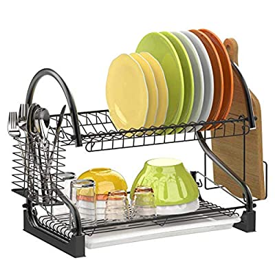 2 Tier Dish Rack, GSlife Metal Dish Rack with U...