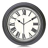 Lafocuse Relojes de Pared Clásico Gris Oscuro Silencioso Números Romanos Reloj de Cuarzo Tradicional Decorativo para Cocina Salon Comedor 30cm