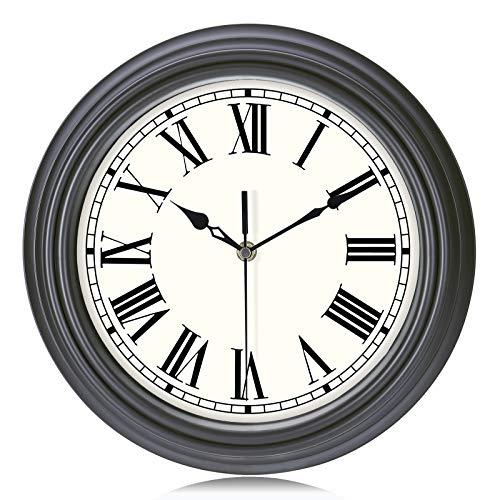 Lafocuse Reloj de Pared Negro Gris Oscuro Retro Vintage Silencioso 30 cm Redondo Números Romanos sin Tic TAC Reloj de Cuarzo para Cocina Salon Oficina