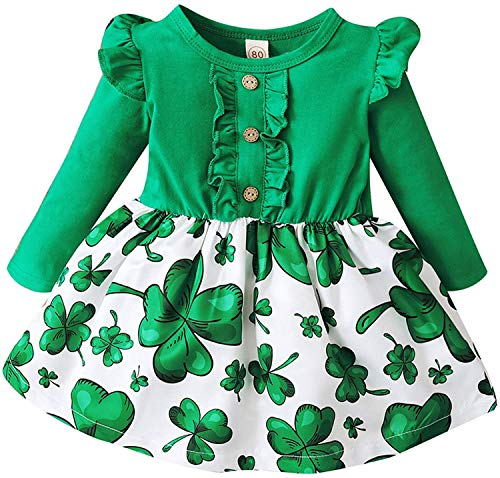 Toddler Baby Girl St. Patrick's Day Dress Ruffle Long Sleeve Top Lucky Clover Print Skirt Outfits (Green-, 2-3 Years)