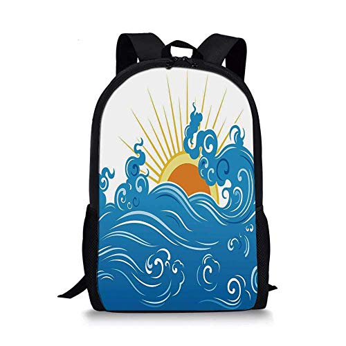 AOOEDM Backpack Abstract Stylish School Bag,Curved Ocean Waves with Sun Rising with Vibrant Sharp Rays Seascape Art for Boys,11''L x 5''W x 17''H