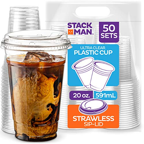 20 oz. Clear Cups with Strawless Sip-Lids, [50 Sets] PET Crystal Clear Disposable 20oz Plastic Cups...