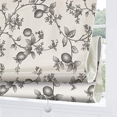 Roman Shades Cordless Window Blinds, Country Floral Premium Blackout Window Roman Shades, Custom Washable Fabric Roman Shades for Windows, Doors, French Doors, Kitchen Windows