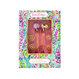 Lilly Pulitzer Earbuds with Silicone Tips and Volume Control, Catch The Wave