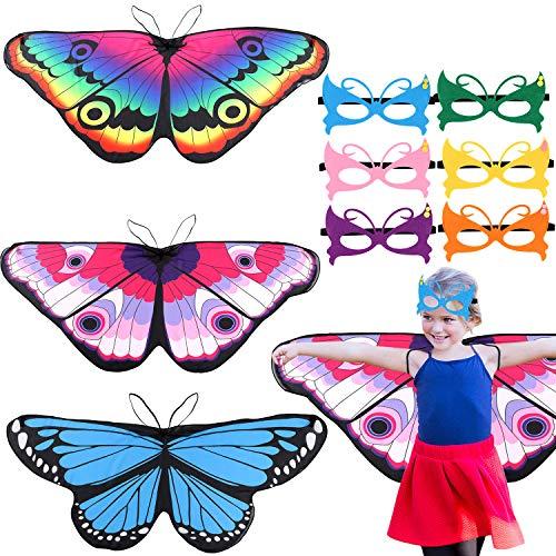 vamei 3stk. Schmetterlingsflügel Kostüm Kinder Flügel Kostüm 6stk. Maske Schmetterling Kostüm Schmetterling Pixie Cape Mädchen Poncho für Cosplay Halloween Fasching