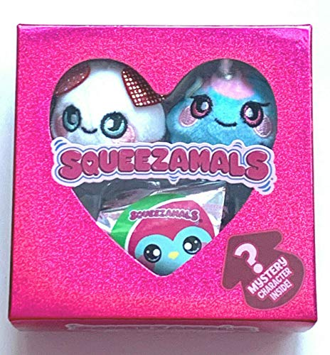 Squeezamal Lil Sweetheart Edition 3 Mini Micro Valentines Day Plush Squeeze Toys Hearts Pink Red Love Animals Perfect Presents