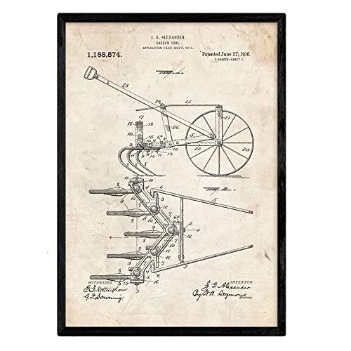 Nacnic Poster con Patente de Arado. Lámina con diseño de Patente Antigua en tamaño A3 y con Fondo Vintage