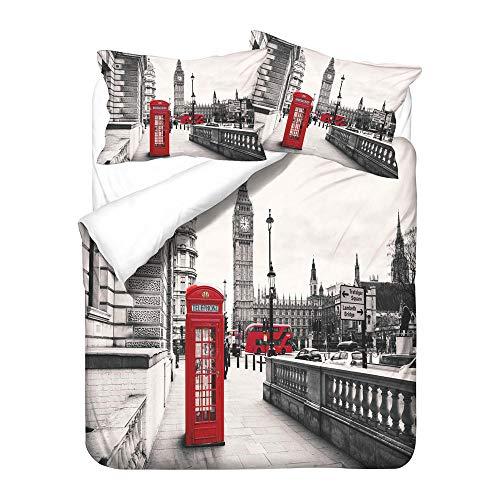 BHFDCR Bettbezug Bettwäsche Set 3 Teilig 3D Digital Print 135 x 200 cm Rote Telefonzelle Weiche Bettwaren aus Mikrofaser Mit Reißverschluss 1 Bettbezug + 2 Kissenbezug, Schlafkomfort