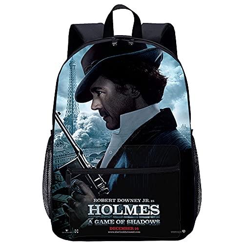 ZFWEI Unisex 3D-Druck Daypack Sherlock Holmes: Ein Spiel der Schatten Rucksack Jungen Mädchen Lässige Schultasche Rucksack Cartoon Muster Umhängetaschen Perfekt für Schule...