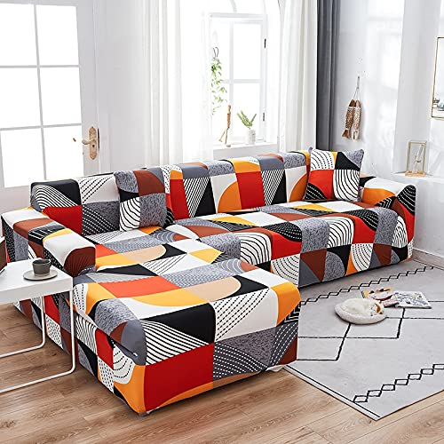 WXQY Funda de sofá elástica Estampada Funda de sofá con patrón geométrico Funda de sofá de Esquina Funda de Chaise Longue Funda de sofá Antideslizante A1 4 plazas
