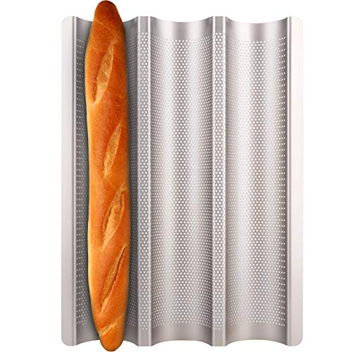 Baguette Pan, Fulimax French Bread Pans For Baking Pan, Nonstick 3 Slots Perforated Italian Loaf Pan Mold Long French Bread Pan