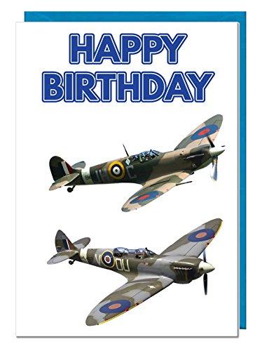 Verjaardagskaart - Vliegtuig Spitfire Themed - Papa - Echtgenoot - Broer - Zoon - Opa - Vriendje