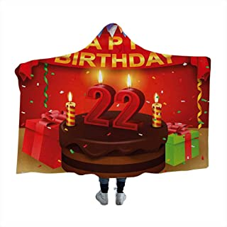Wearable Sleeping Blankets 22nd Birthday,Delicious Cake with Candles Cheerful Event Yummy Surprise Artwork,Red Chestnut Brown Soft Blanket Queen 80 x 60 Inch