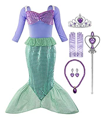 Padete Little Girl Mermaid Princess Costume Sequins Party Dress (5-6 Years, Long Sleeves with Accessories)