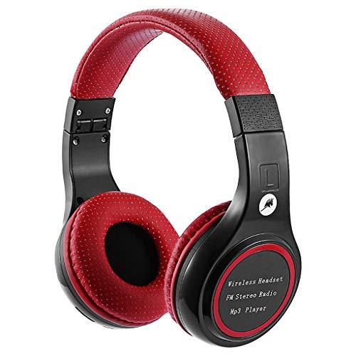 Mypace2 - Cuffie da Gioco Senza Fili Bluetooth per PS4, PC, Xbox One, Suono Cristallino Tramite Le Orecchie, Cuffie antirumore con Microfono per Laptop, Telefono Cellulare, Tablet, Colore: Rosso