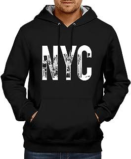CUPIDSTORE Men's Sweatshirts - 1 NYC Printed Red Blue Black Hoodies for Mens