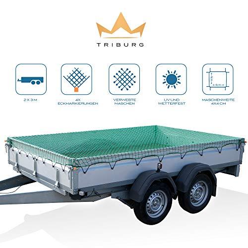 TRIBURG® Anhängernetz 2x3 mit Eckmarkierungen - Hängernetz mit Spanngummi zur optimalen Ladungssicherung - Anhänger Netz mit Gummiseil[elastisch/dehnbar]