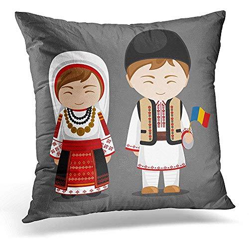 Kussenslopen, Roemeens In nationale kostuum met vlag man en vrouw traditioneel kostuum reizen naar landen mens woning aantrekkelijk nieuw kussenslopen voor sport Gym Athletic